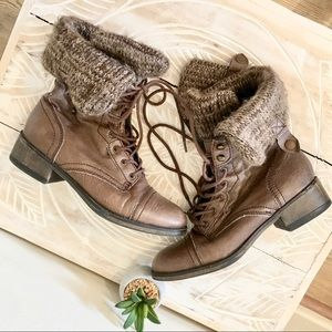 Steve Madden Brown Leather & Textile Combat Boots